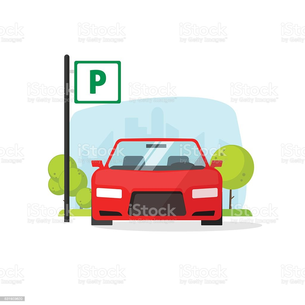 Parking lot with sign vector illustration isolated on white vector art illustration