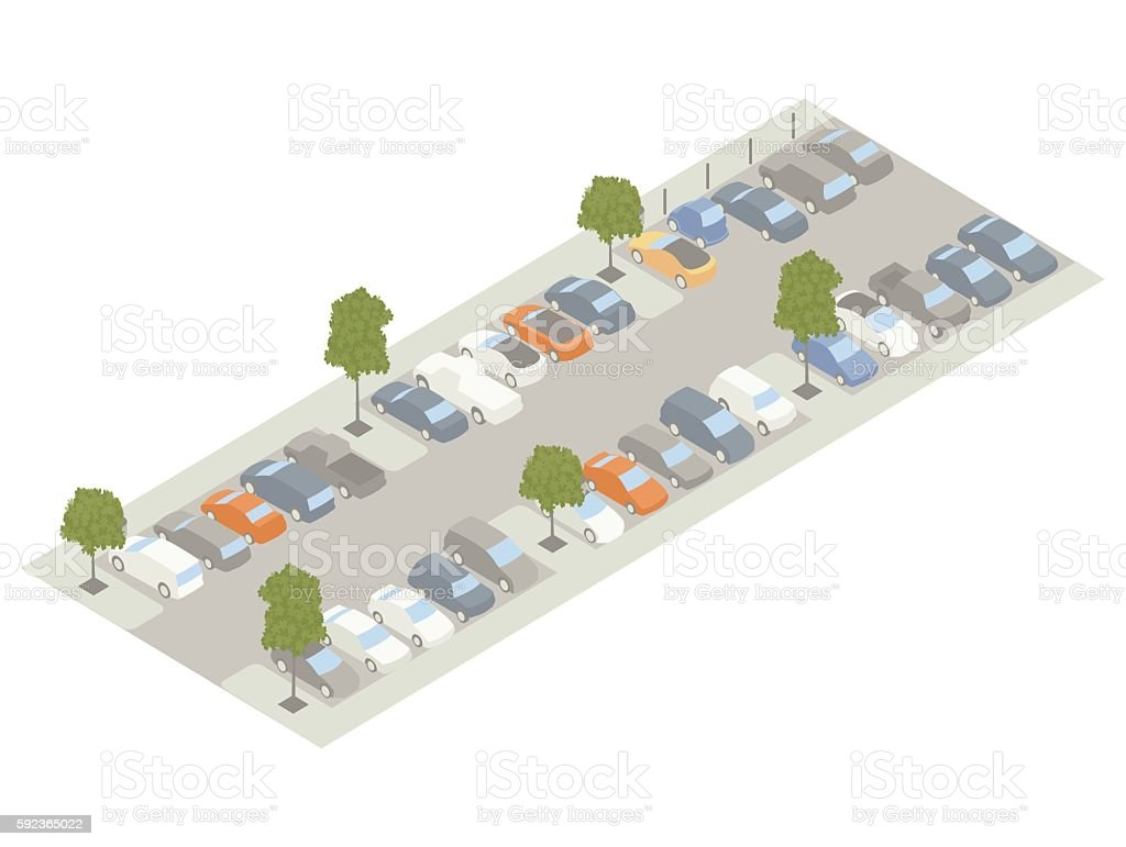 Parking lot with trees isometric illustration vector art illustration