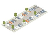 Parking lot with trees isometric illustration