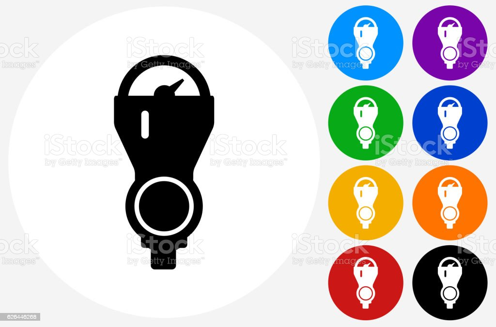 Parking Meter Icon on Flat Color Circle Buttons vector art illustration