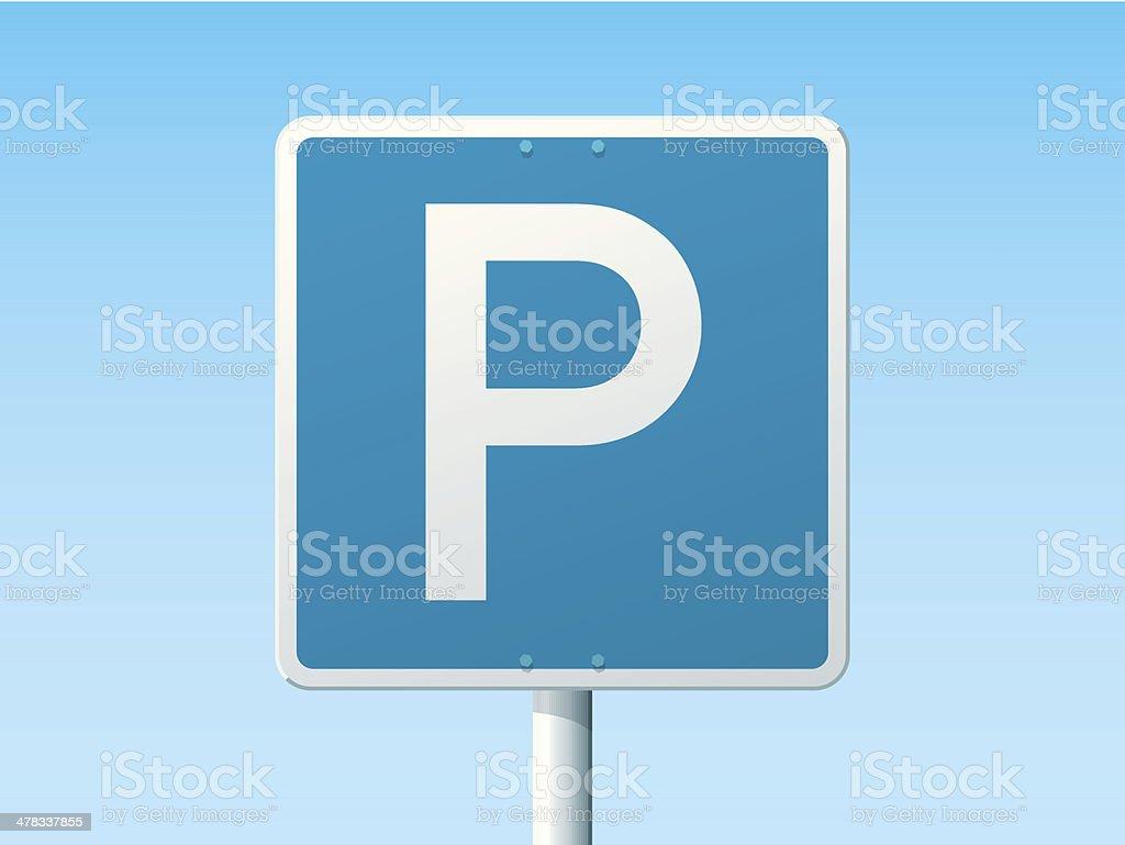Parking Place German Road Sign vector art illustration