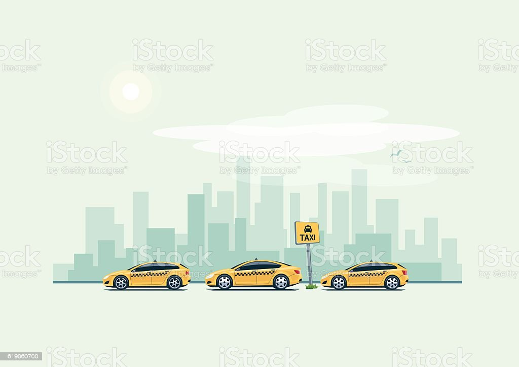 Parking Taxi Cars and City Background vector art illustration