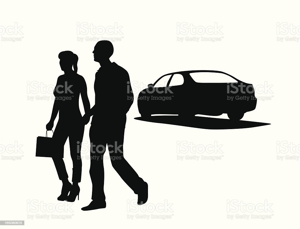 Parking The Car Vector Silhouette royalty-free stock vector art