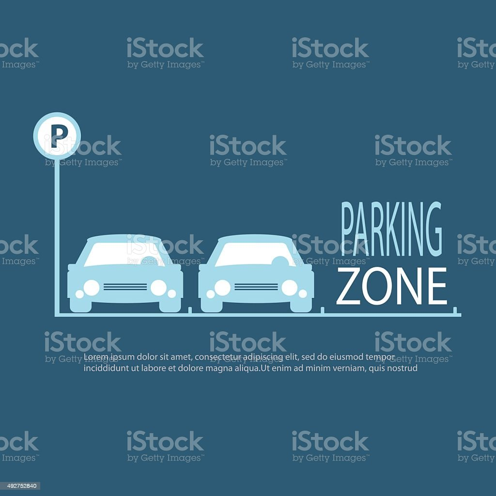 Parking Zone blue background. vector art illustration