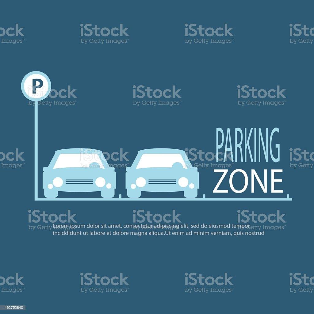 Parking Zone blue background. vector art illustration