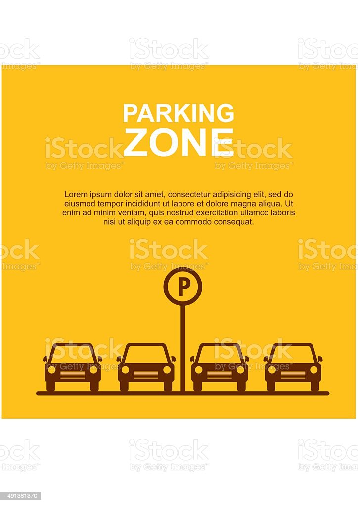 Parking Zone yellow background. Vector vector art illustration