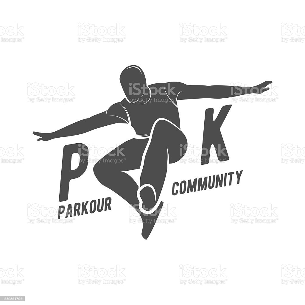 parkour and free running badge vector art illustration