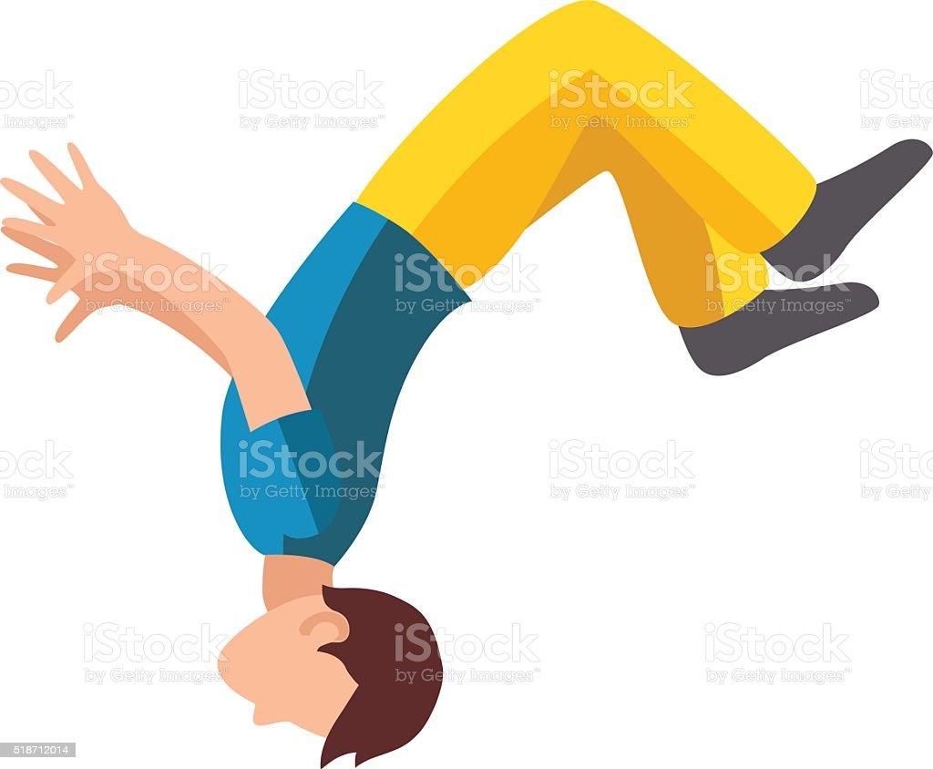 Parkour trick people extreme sport cartoon vector silhouette or city...