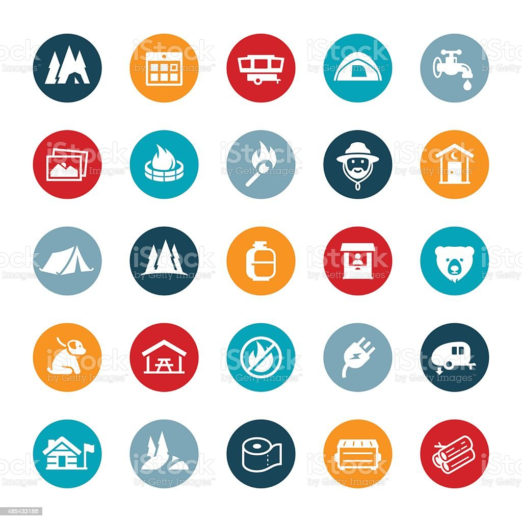 Parks and Campground Icons vector art illustration