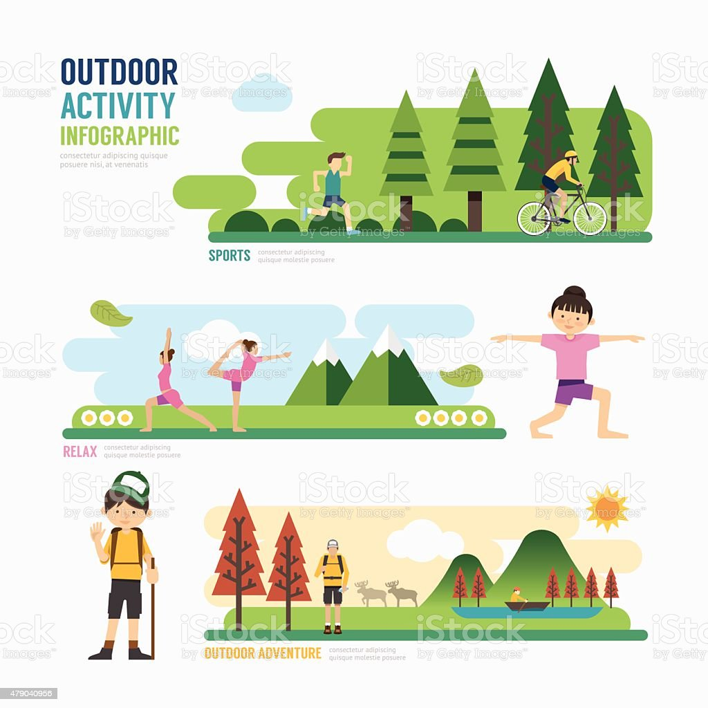 parks and outdoor activityTemplate Design Infographic. Concept vector art illustration