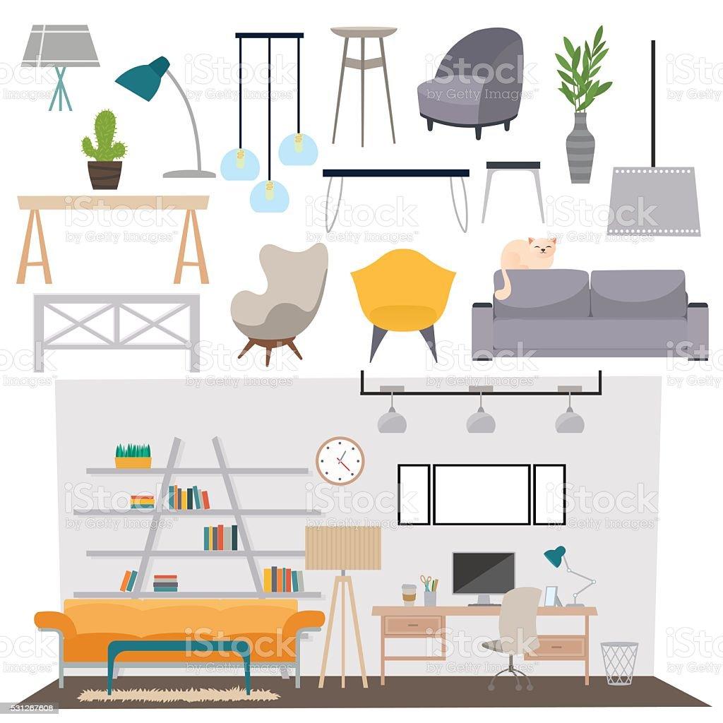 Parlour interior vector illustration vector art illustration