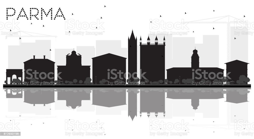 Parma City skyline black and white silhouette with reflections. vector art illustration