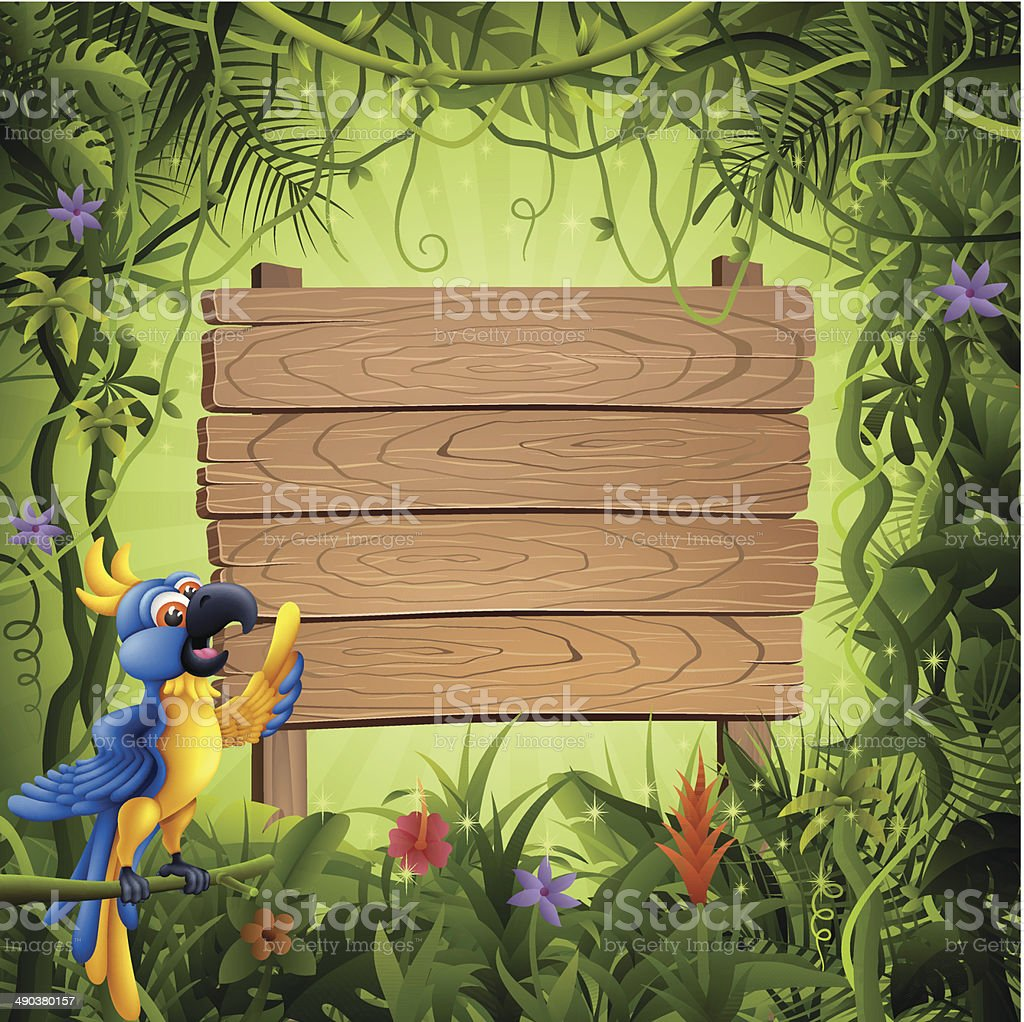 Parrot and Wooden Banner in the Jungle vector art illustration