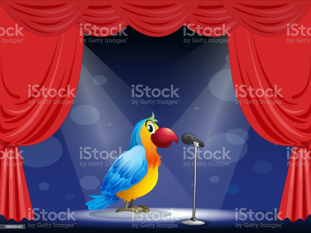 parrot at  center of the stage royalty-free stock vector art