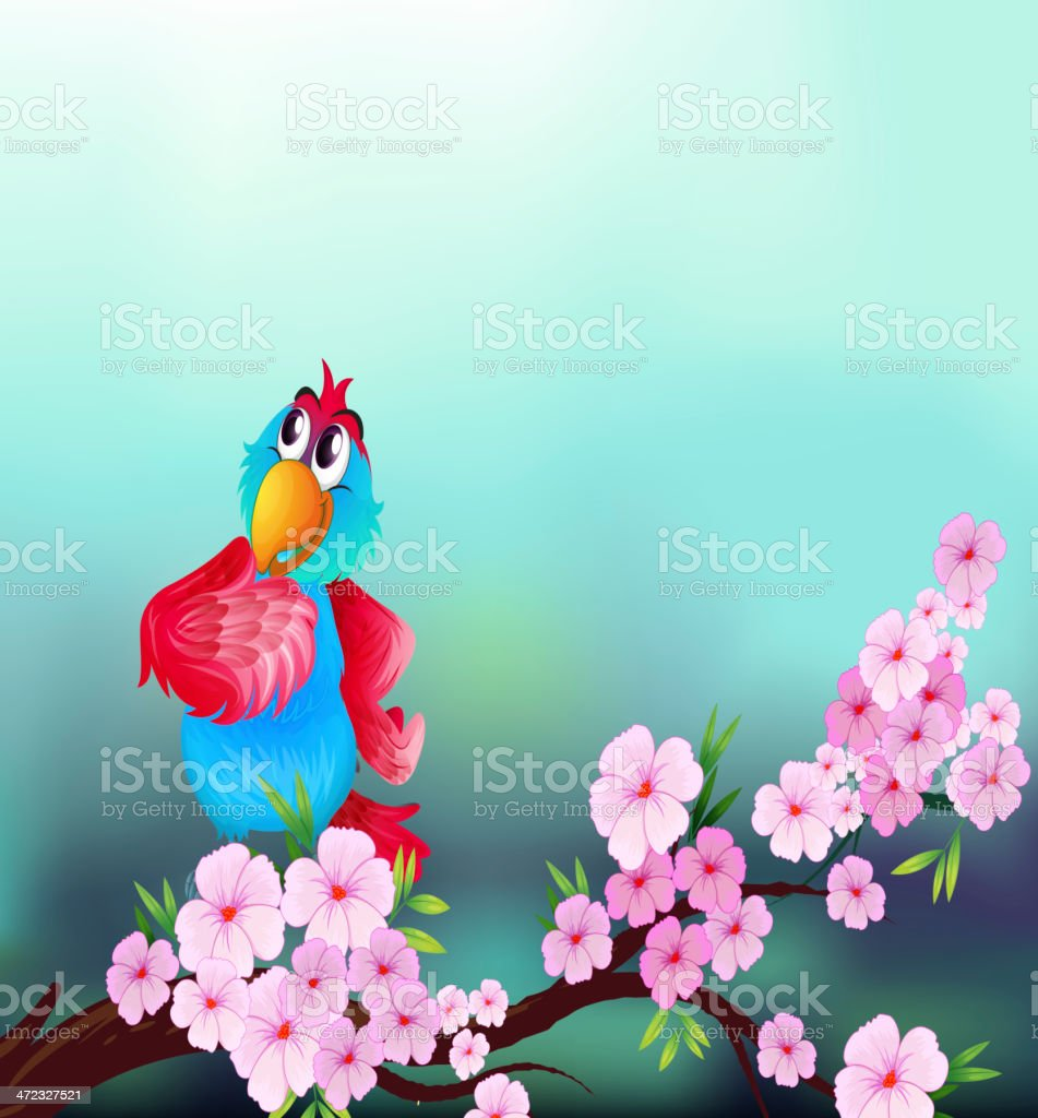 parrot at the branch of a tree with pink flowers royalty-free stock vector art