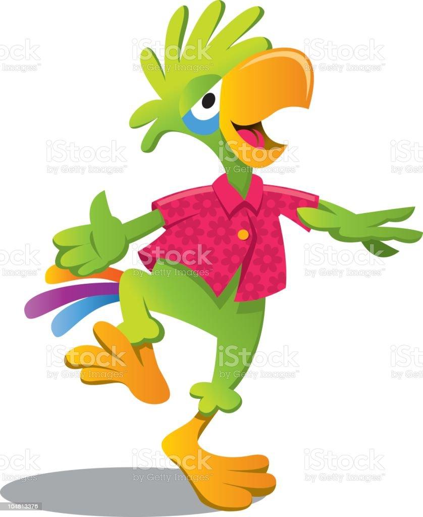 parrot dancing vector art illustration