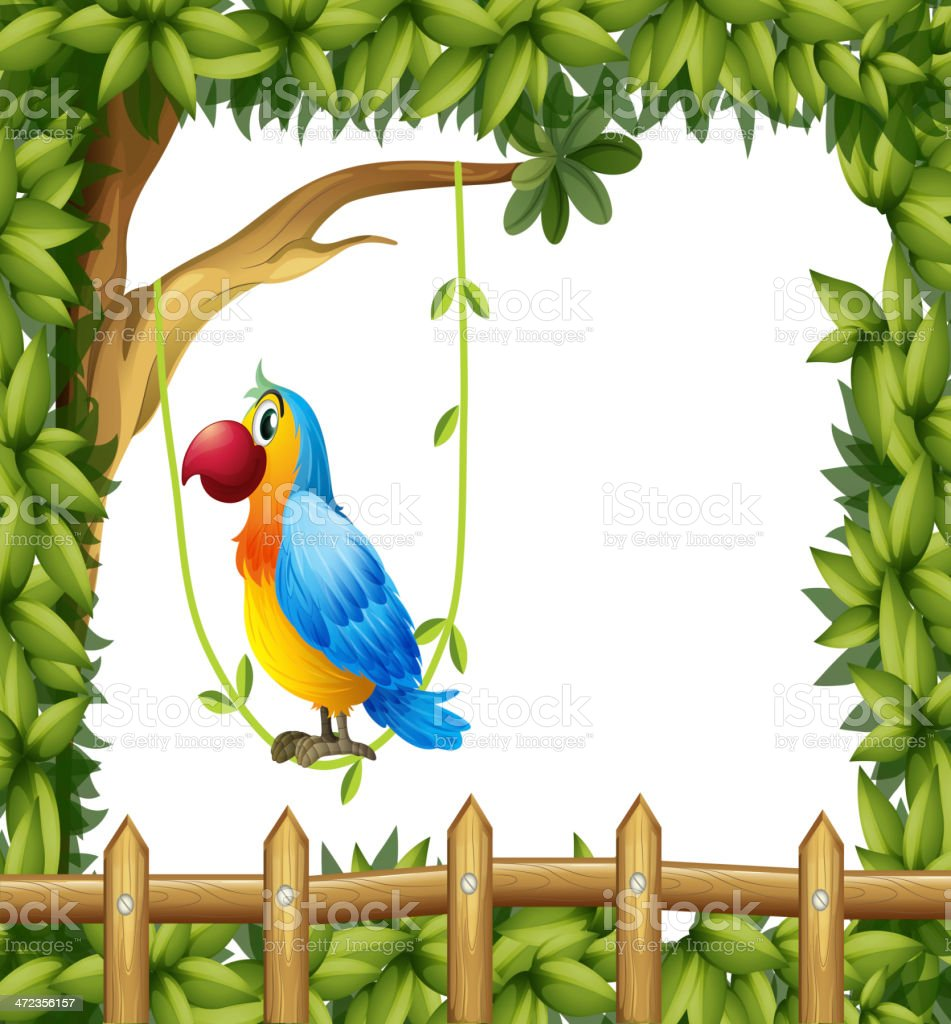 Parrot hanging in a vine plant near the wooden fence royalty-free stock vector art