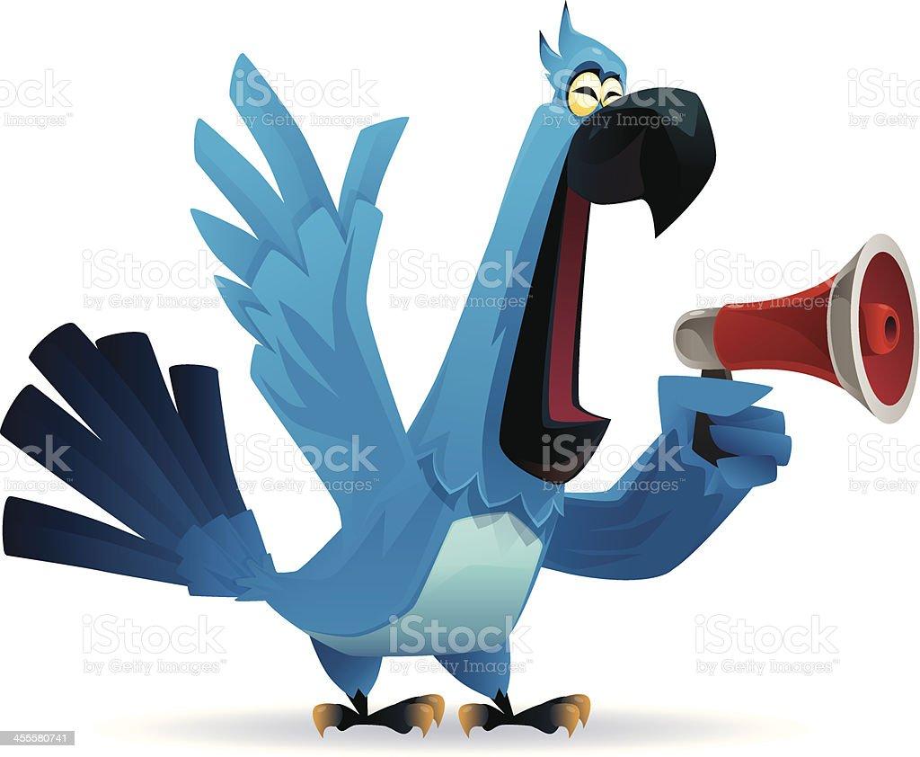 parrot holding megaphone royalty-free stock vector art