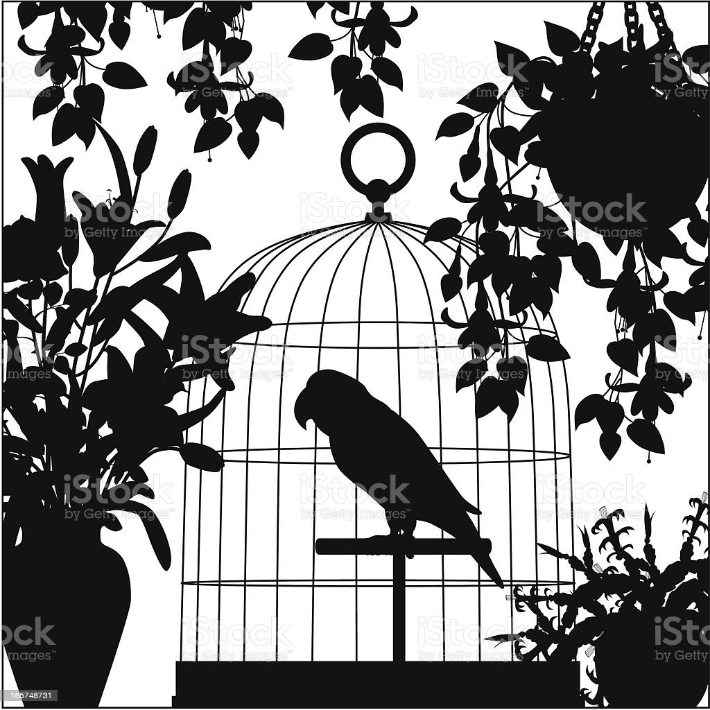 parrot in a cage silhouette vector art illustration