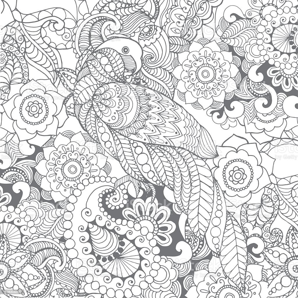 Parrot in fantasy flowers vector art illustration