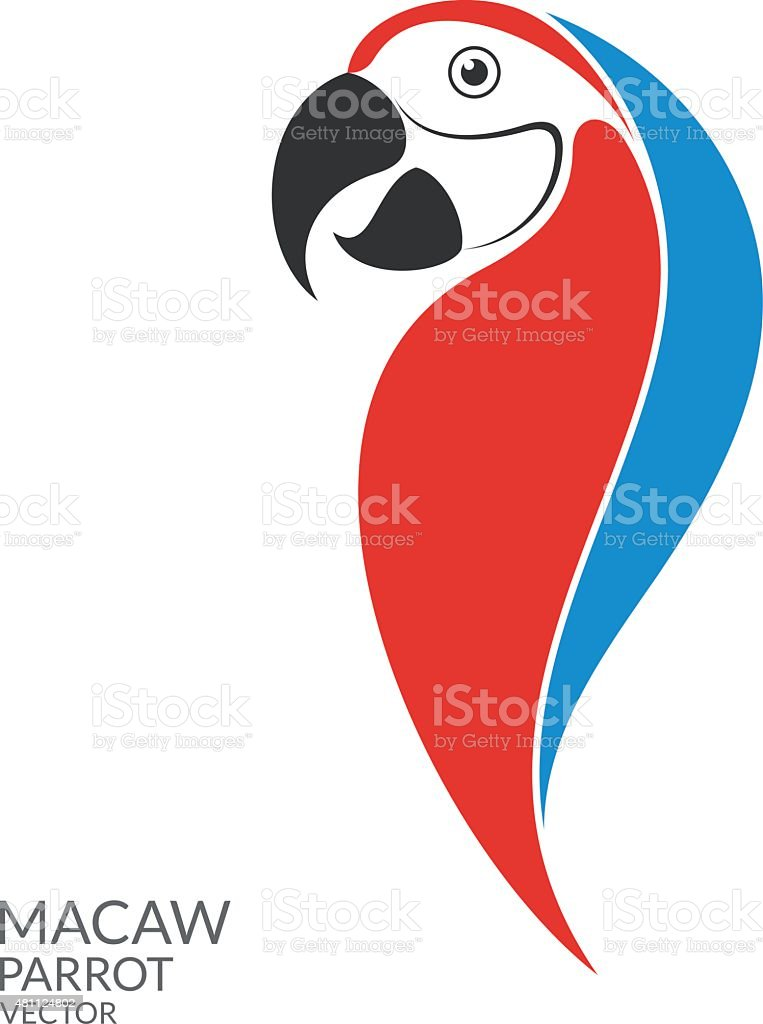 Parrot. Macaw vector art illustration