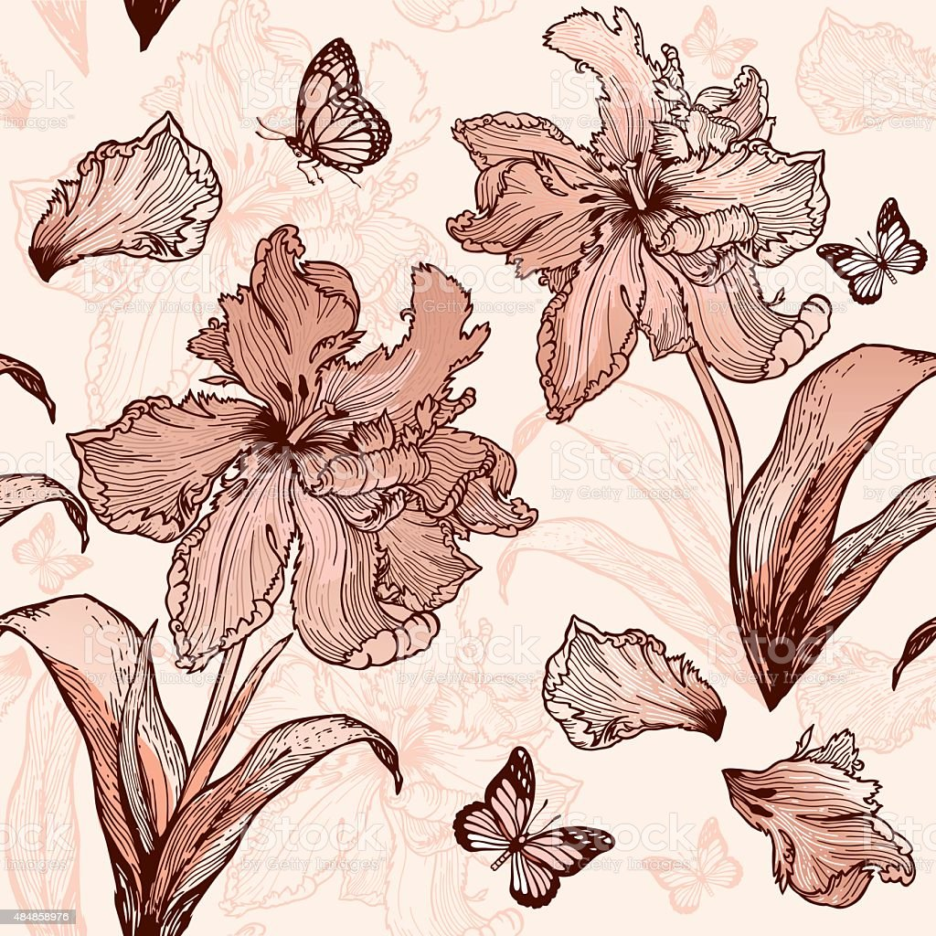 Parrot Tulips seamless floral background in beige colors vector art illustration