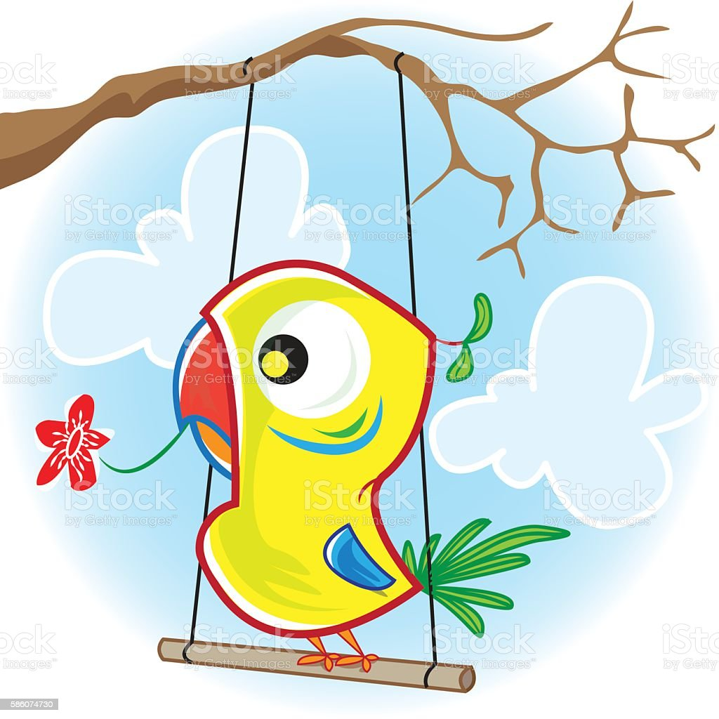 Parrot with tree vector art illustration