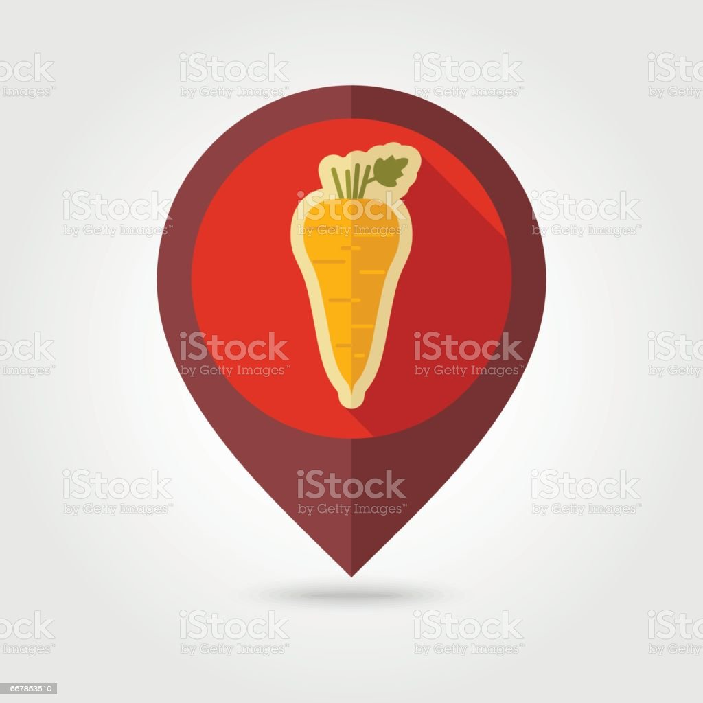 Parsnip root flat pin map icon. Vegetable vector vector art illustration