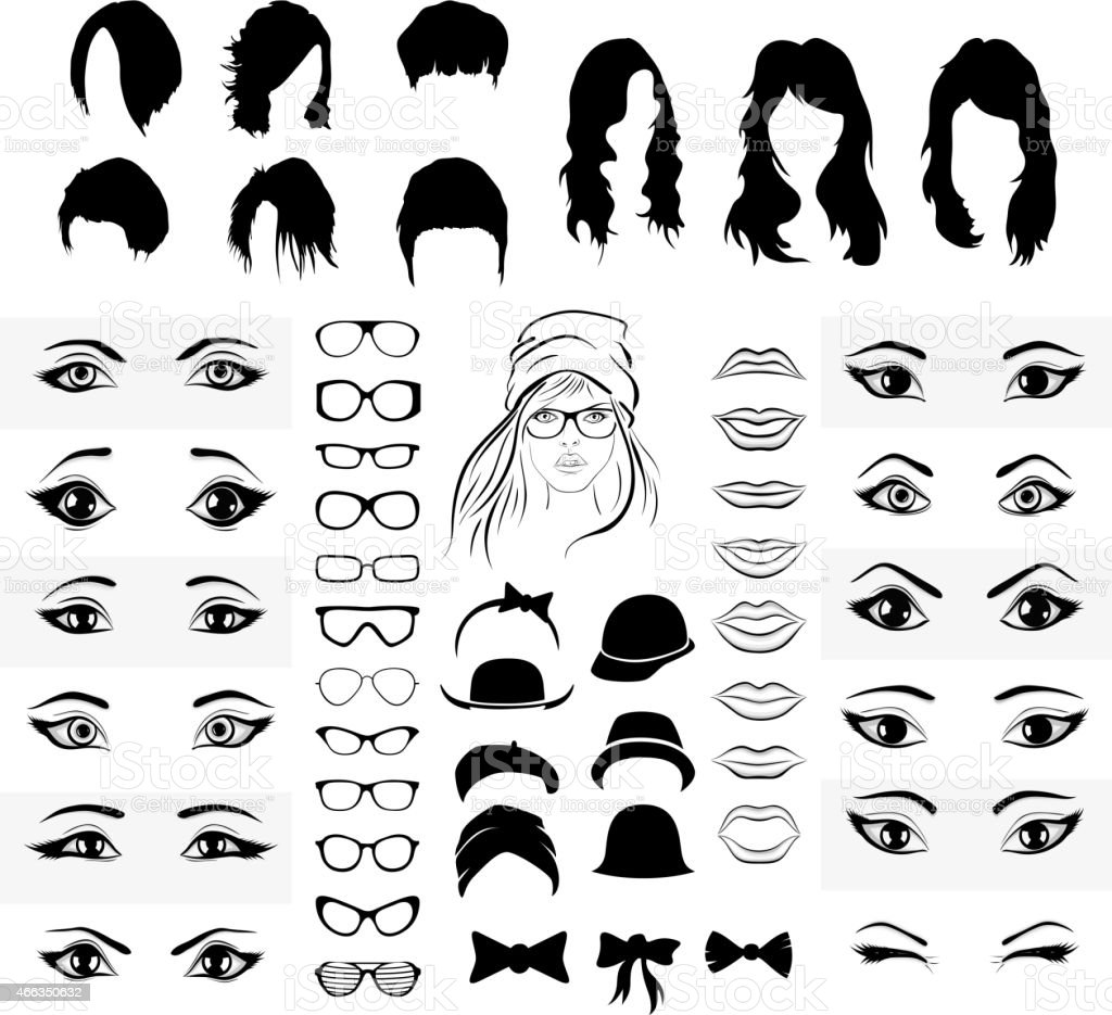 part of a woman face, eyes, mouth, hat and glasses vector art illustration
