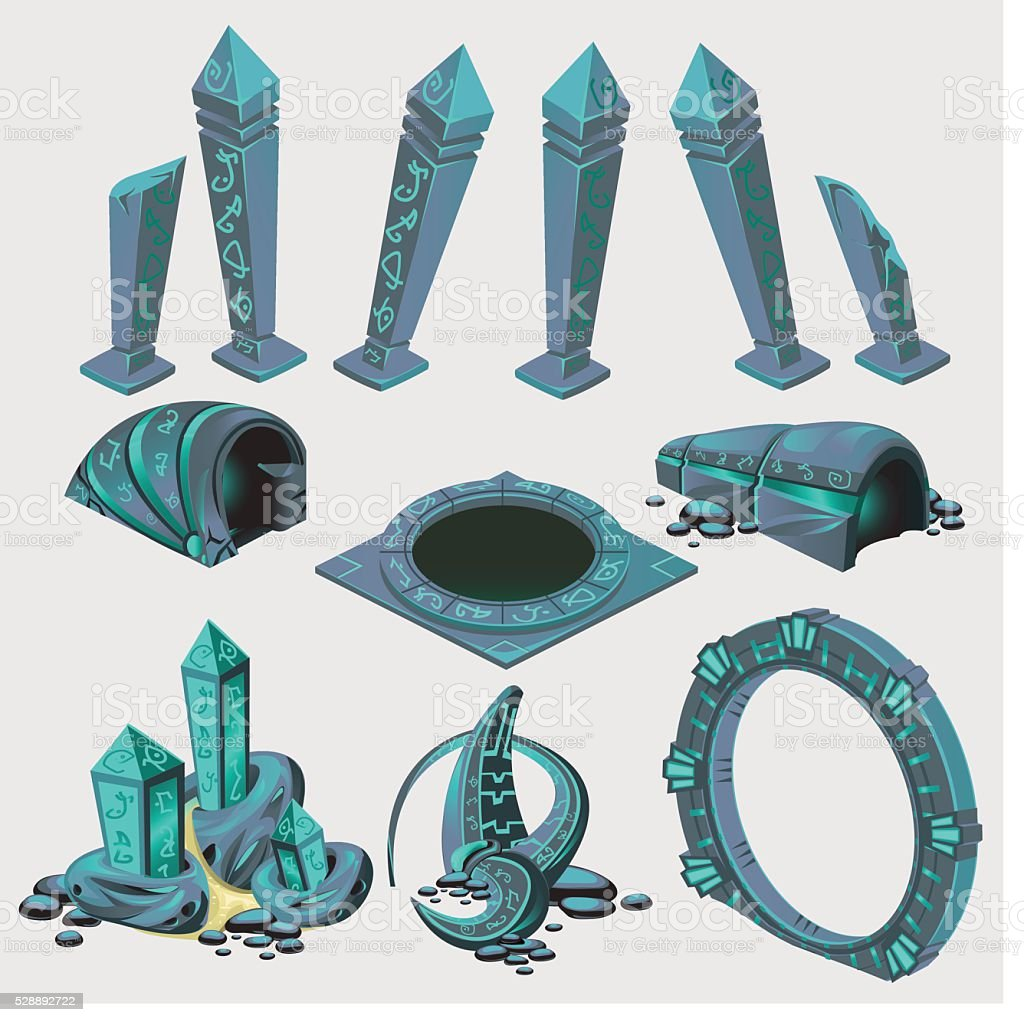 Part of portal, elements from sci-Fi series vector art illustration