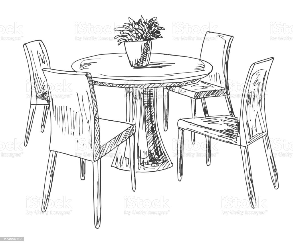 Table And Chairs Drawing - Drawing activity home interior house ink living room part of the dining room round table and chairs