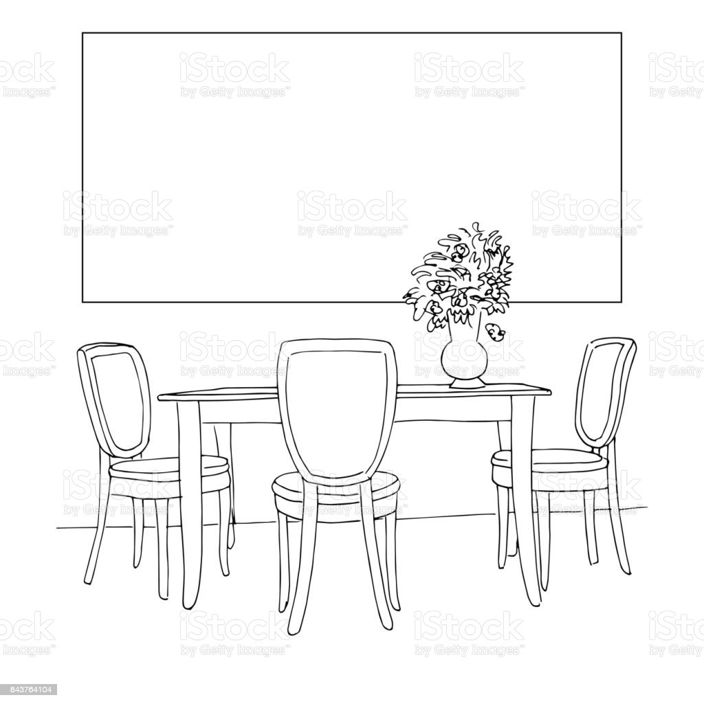 Part Of The Dining Room Table And Chairson The Table Vase Of