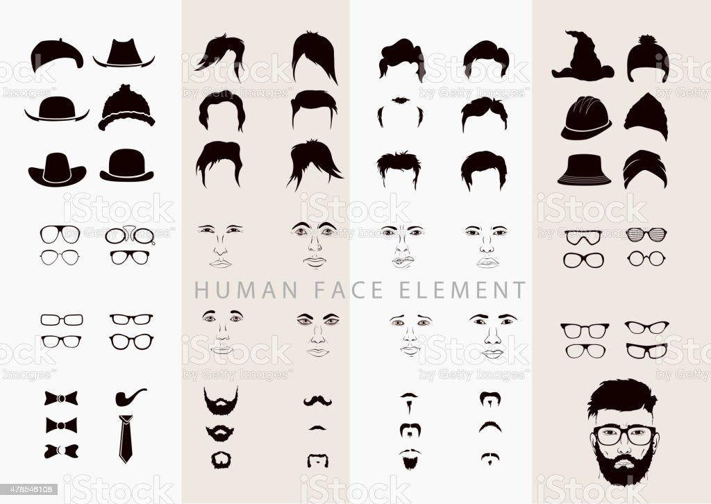 part of the human person's nose, mouth, eyes and hair vector art illustration