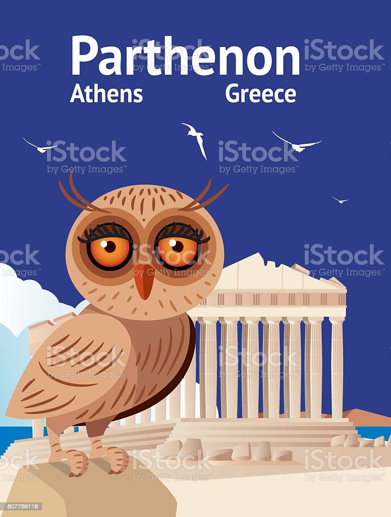 Parthenon and Owl vector art illustration