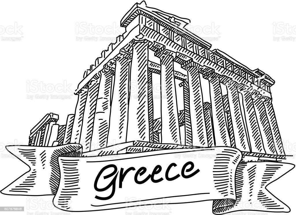 Parthenon Drawing vector art illustration