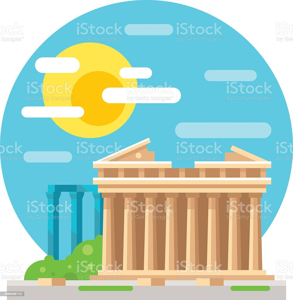 Parthenon flat design landmark vector art illustration