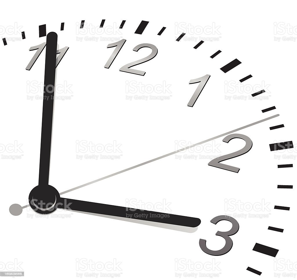 Partial view of a clock from 11 to 3 on a white background royalty-free stock vector art