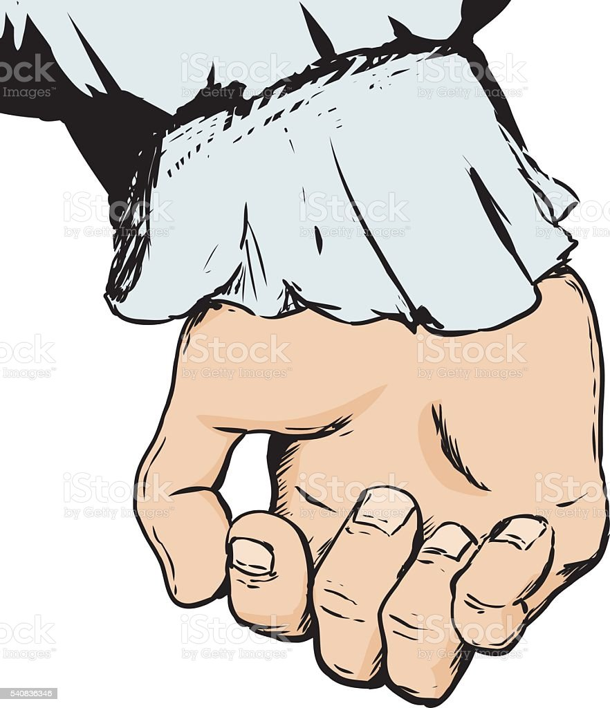 Partially clenched empty human hand vector art illustration