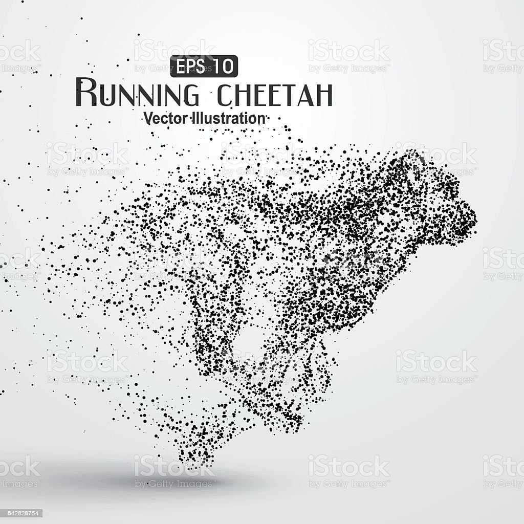 Particle cheetah ,vector illustration,The moral of hard work ahead. vector art illustration