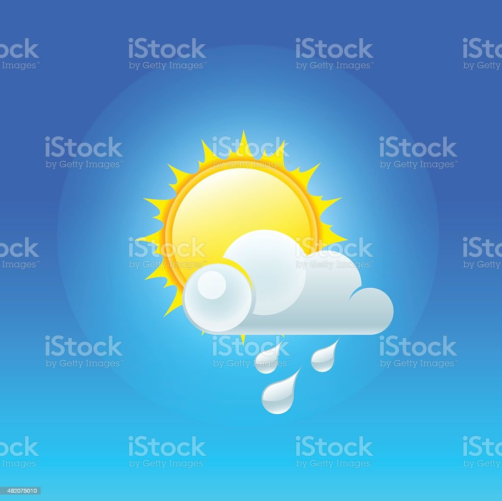 partly cloudy vector art illustration
