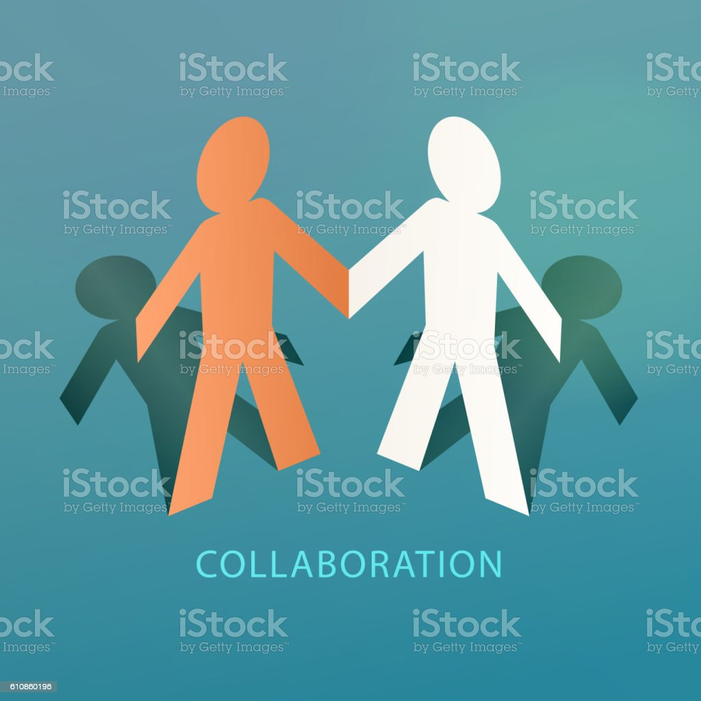 Partnership Concept Paper Cut vector art illustration