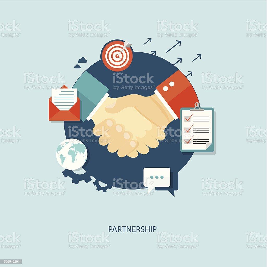 Partnership flat illustration. vector art illustration