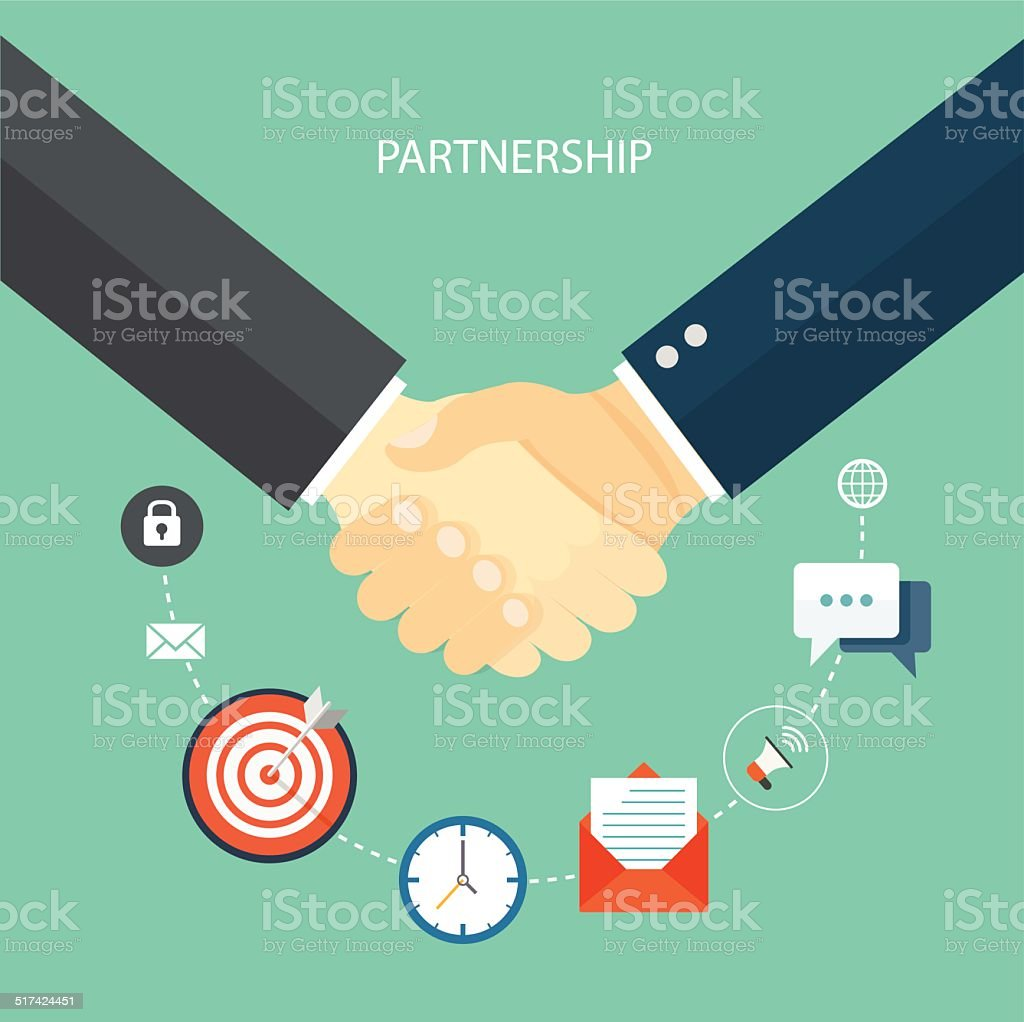 Partnership flat illustration with icons vector art illustration