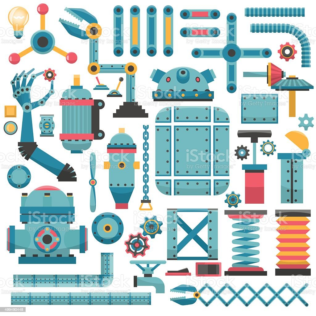 parts for a machine vector art illustration