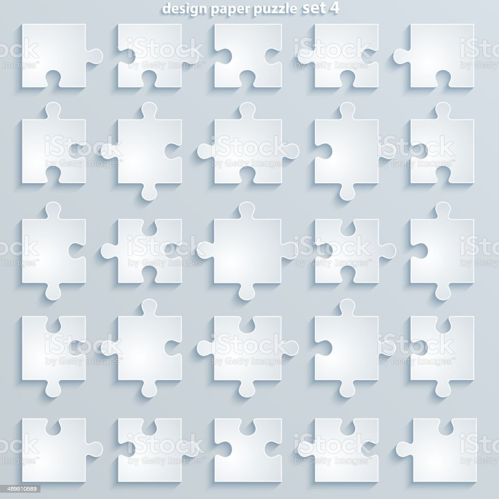 Parts of blank paper puzzles lined up royalty-free stock vector art