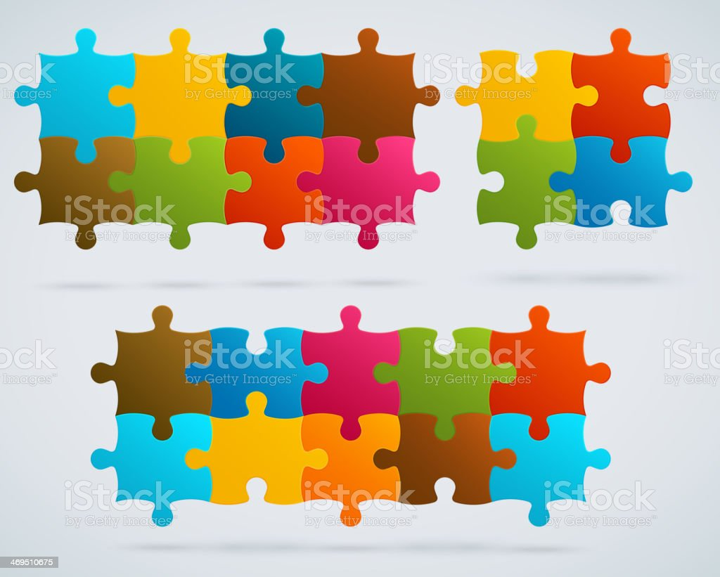 Parts of colorful puzzles. Set of 8, 4, 10 vector pieces royalty-free stock vector art
