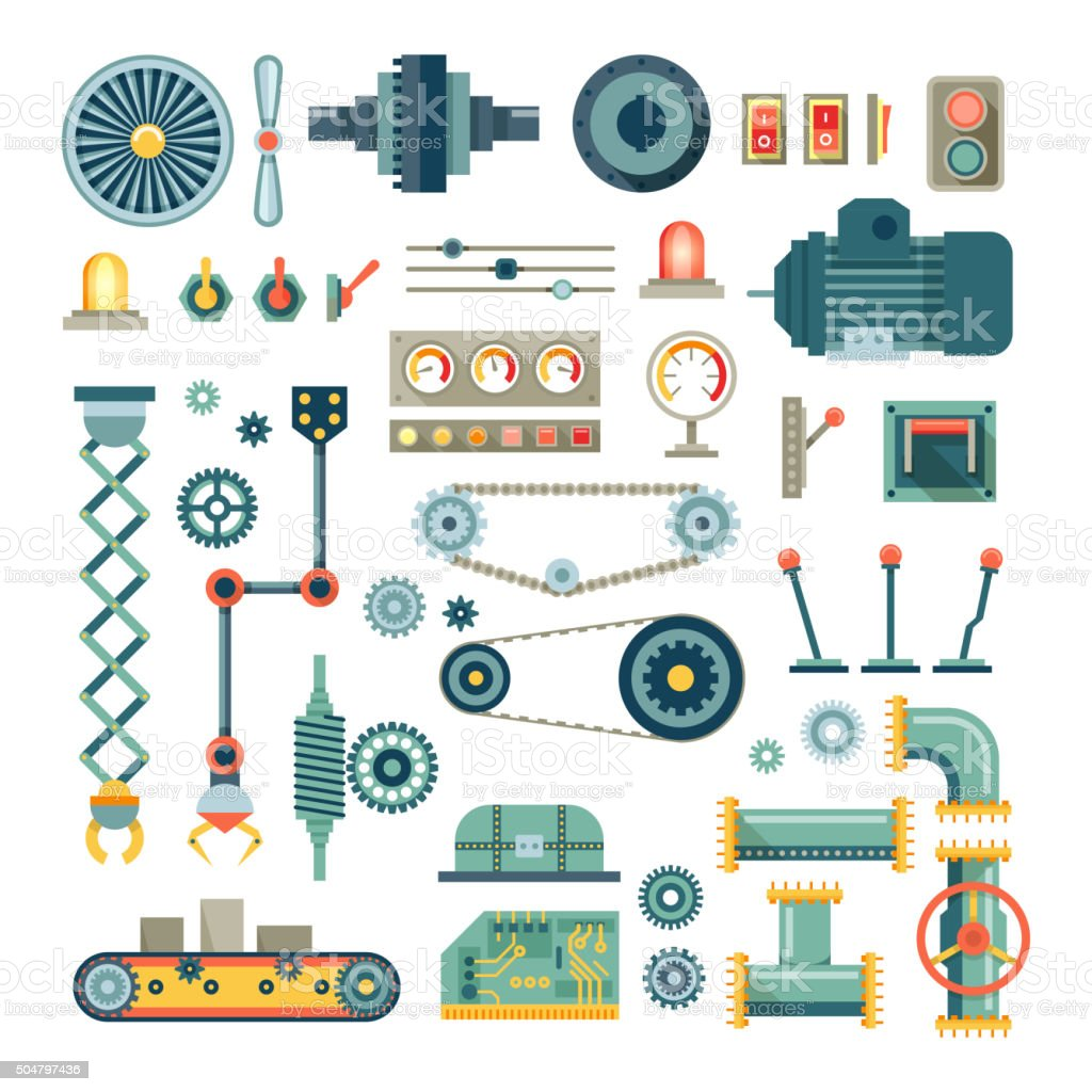Parts of machinery and robot flat icons vector set vector art illustration