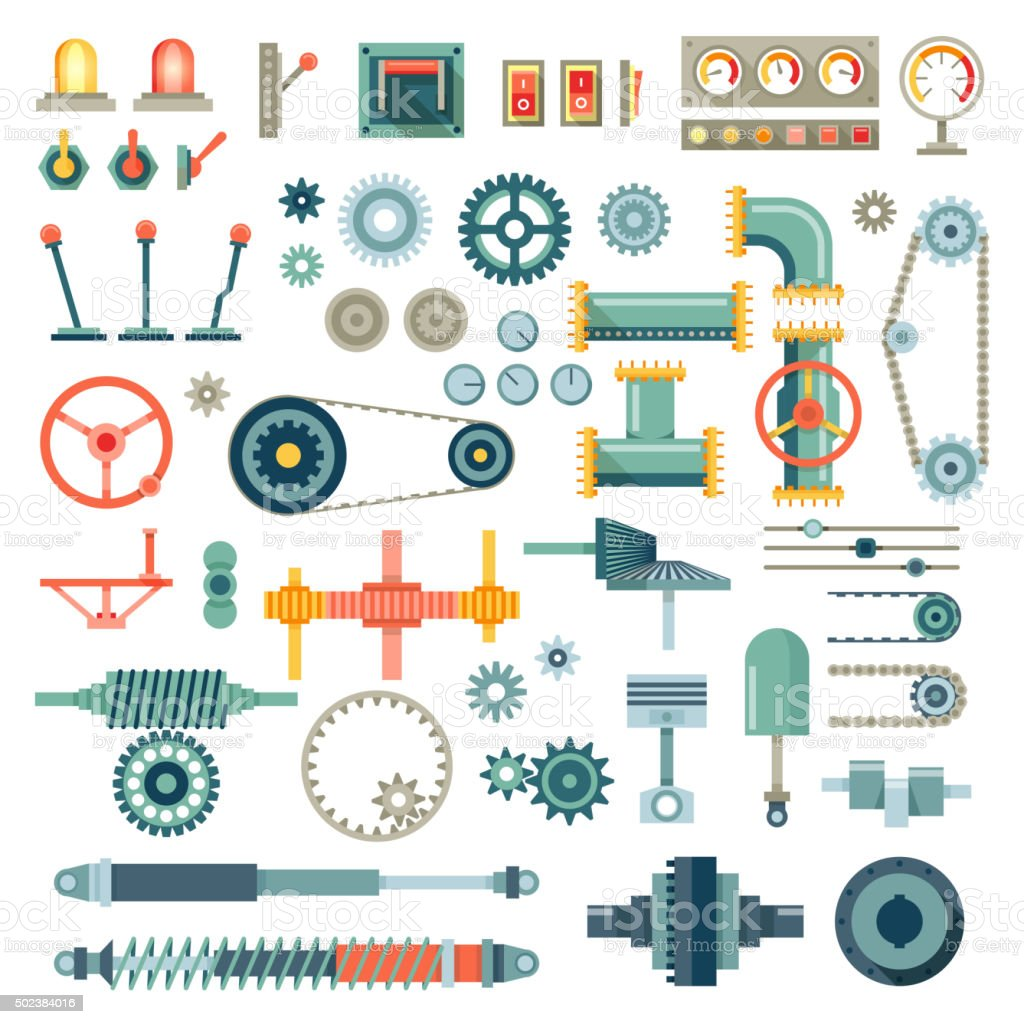 Parts of machinery flat icons vector set vector art illustration