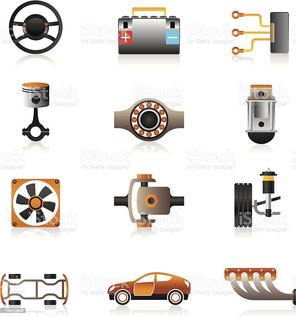 Parts of the car engine royalty-free stock vector art