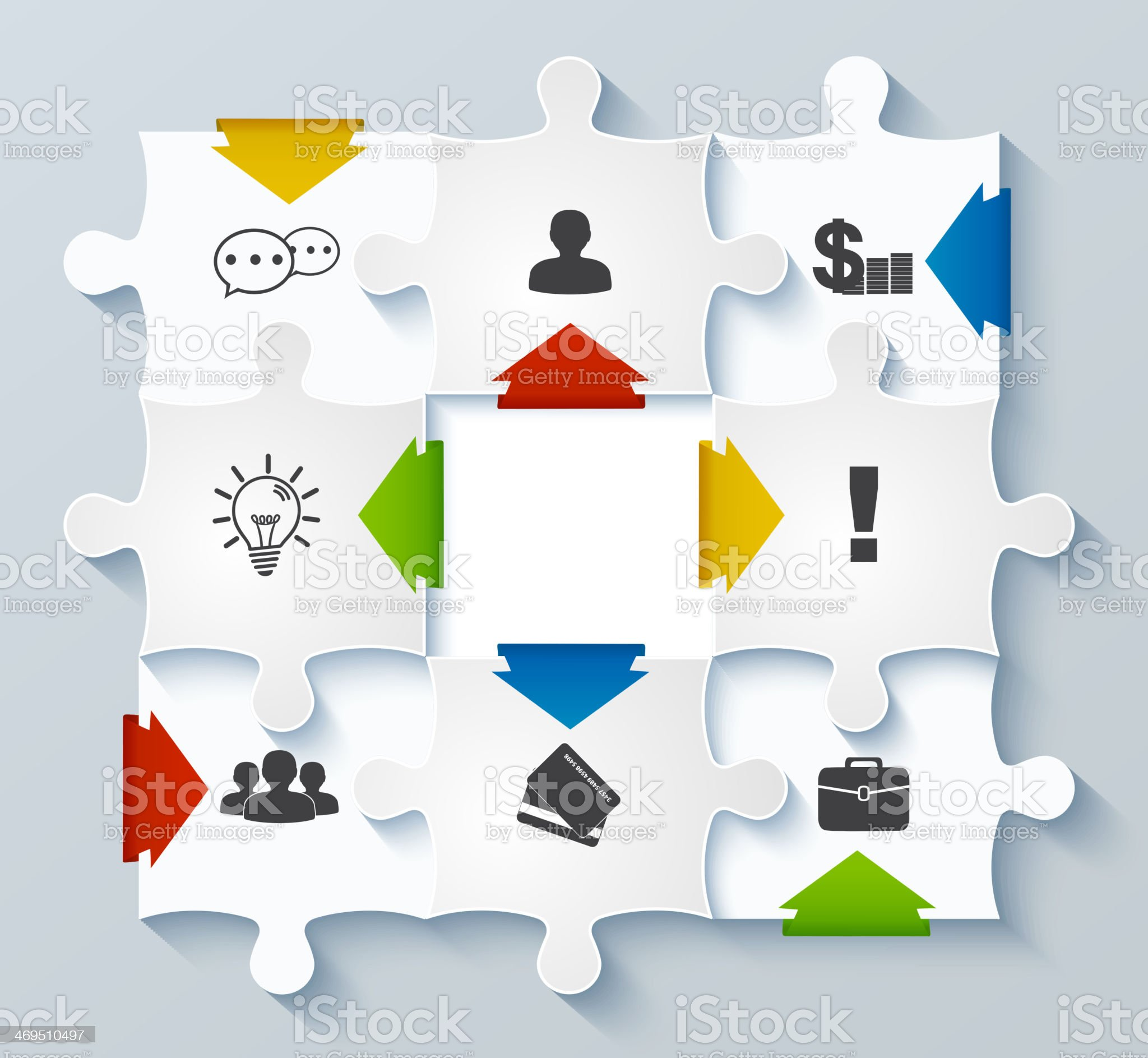 Parts puzzles with icons. Business concept, infographics royalty-free stock vector art